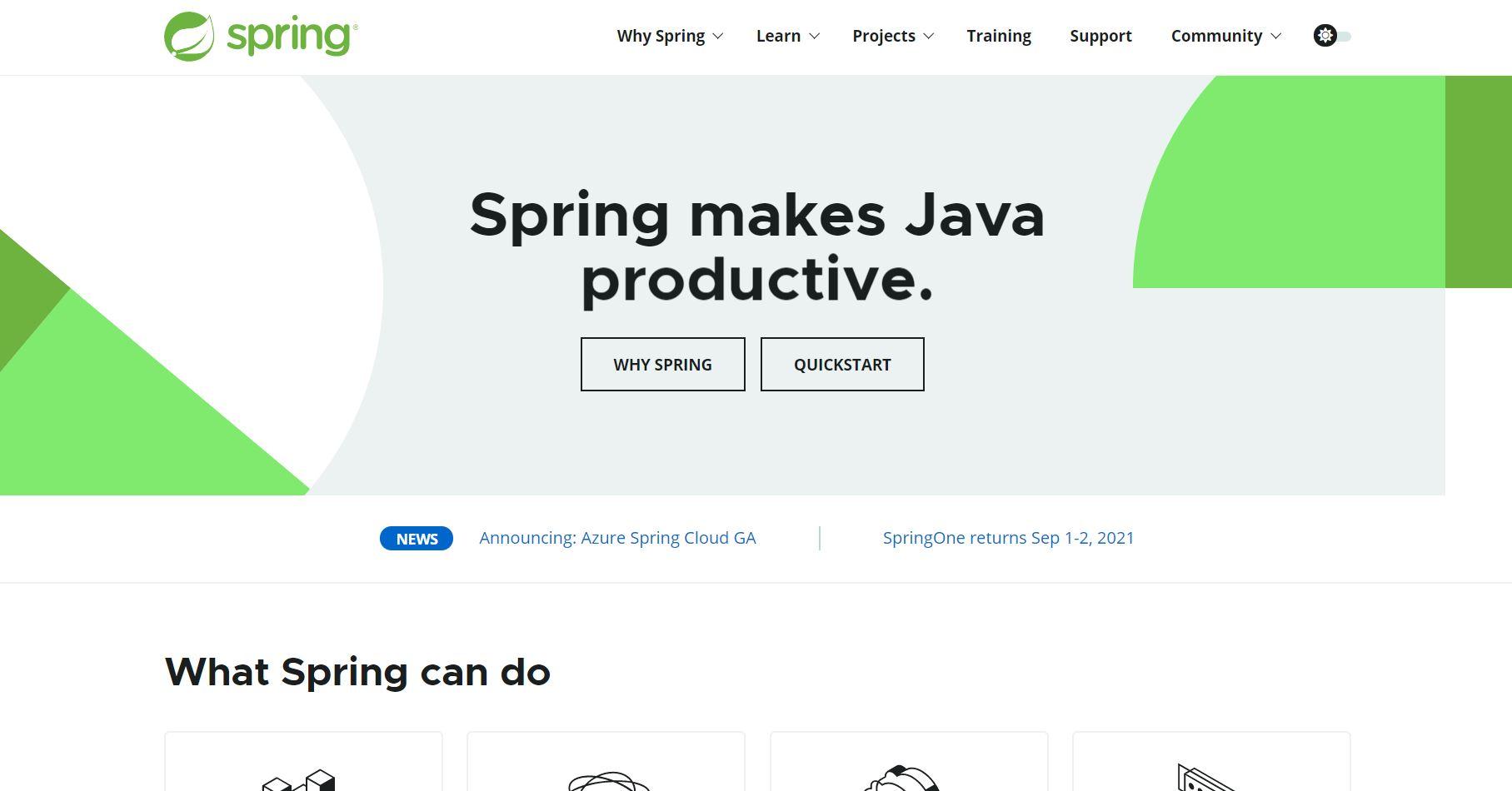 Spring landing page